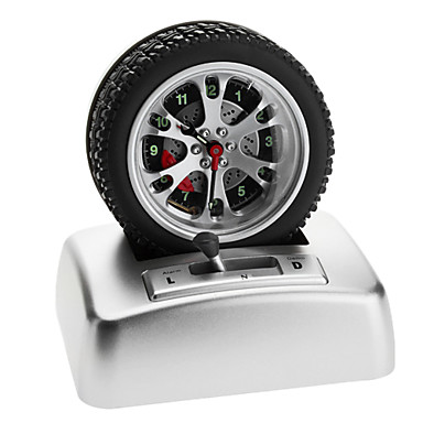 Cab Tire Style Desktop Analog Alarm Clock (Silver, 3xAA)