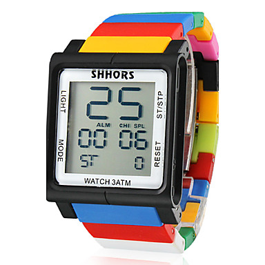 unisex touchscreen lcd digitale multifunctionele kleurrijke plastic band polshorloge