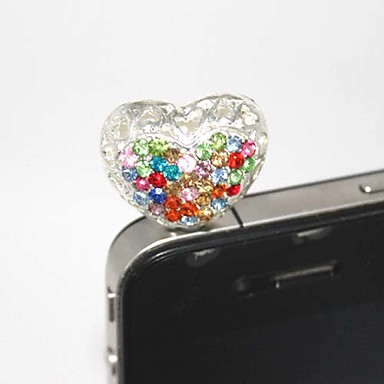 Colorful Zircon Hollow Out Silver Heart Pattern Anti-Dust Plug