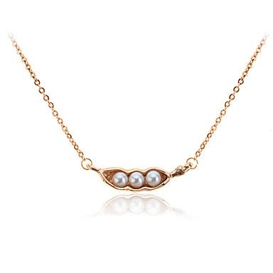 Lureme®Alloy Pearl Pea Pendant Necklace
