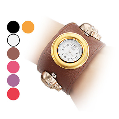 Women's and Girl's Skull Style PU Analog Quartz Bracelet Watch (Assorted Colors)