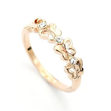lureme®gold anillo del patrón de mariposa hueco-hacia fuera de circón aleación plateada