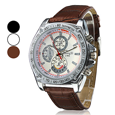Men's Wrist watch Quartz Hot Sale PU Band Charm Black White Brown