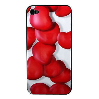 3D Heart Pattern Front and Back Screen Protector for iPhone 4/4S