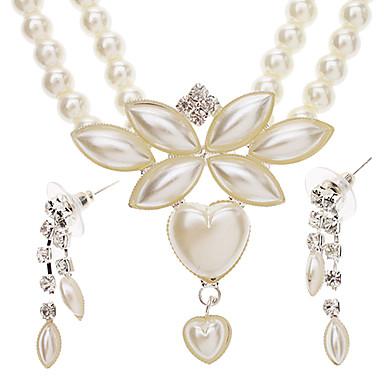 Seis hojas en forma de corazón pendientes de la perla Necklace + sistema de la joyería