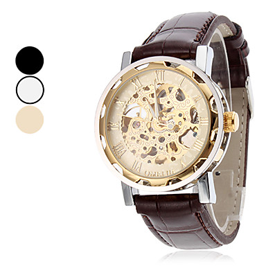 Men's Analog PU Mechanical Wrist Watch (Assorted Colors) Cool Watch Unique Watch