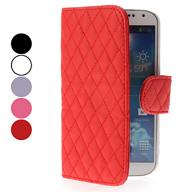 Grid Design Leather Case with Card Slot for Samsung Galaxy S4 I9500