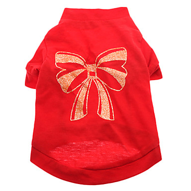 Dog Shirt / T-Shirt Dog Clothes Bowknot Red Cotton Costume For Pets