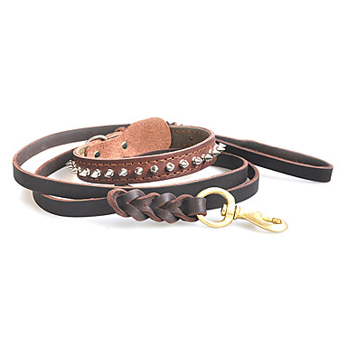 High-end Genuine Leather Pet Suit of Short Nails Type Collar with Leash for Dogs (M-L)