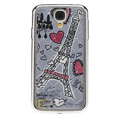 Kalp ve Samsung Galaxy S4 I9500 için Yapay elmas ile kule Desen Hard Case