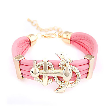 Alloy Anchor Pattern Three-row Leather Bracelet(Assorted Colors)