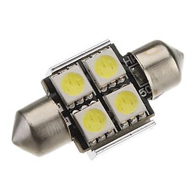 Festoon 31mm 1W 4x5050SMD White Light LED Bulb for Car Reading Lamp CANBUS (DC 12V)