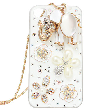 Gold Plated Acrylic Zircon Elephant Flower Pattern Hard Case for iPhone 4/4S