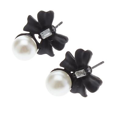 Black Flowers Pearl Earring