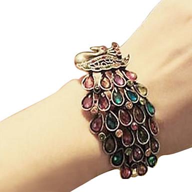 Incrustaciones de aleación del pavo real del brazalete cristalino colorido de la Mujer