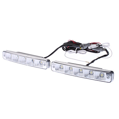 5W 300-350LM Cold White Light LED-lamppu Auton huomiovalaisimeen (DC 12-24V, 1-Pair)