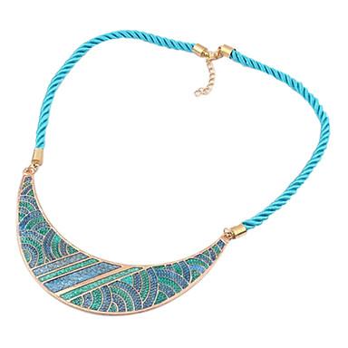 Eruner®Bohemia Style Fabric Acrylic Crescent Pattern Necklace