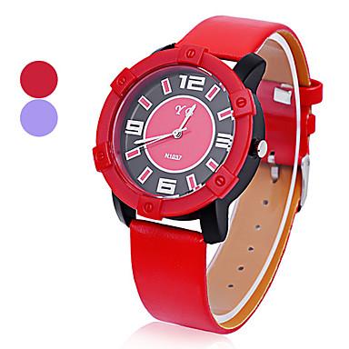 Unisexe de forme ronde de style en cuir PU analogique Quartz Sport Wrist Watch (couleur assortie)
