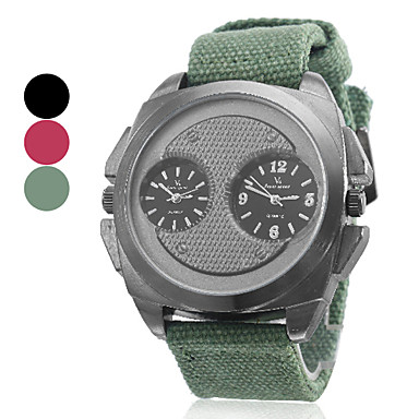 estilo militar dual time banda zonas tecido de quartzo relógio de pulso dos homens (cores sortidas)