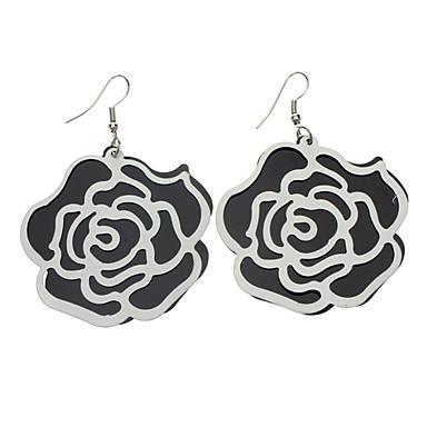 White and Black Rose Earring