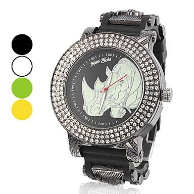 Big Dial Rhinoceros style silicone Montre à quartz analogique de la femme (couleurs assorties)