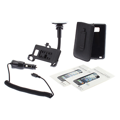 Cargador PU bolsa de cuero, caso suave de TPU, protector de la pantalla, Car-Holder y Coche para Samsung Galaxy S2 I9100