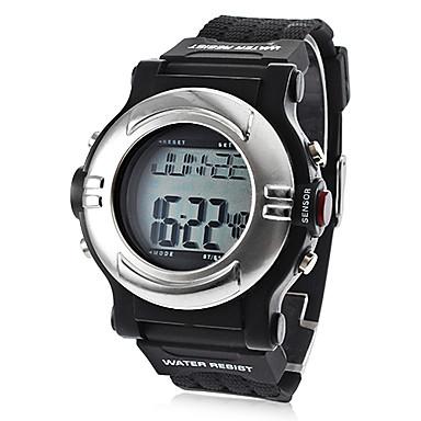 Erkek Spor Saat Dijital LCD Takvim Kronograf Su Resisdansı alarm Silikon Bant Siyah Siyah