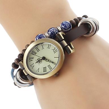 Women's PU Analog Quartz Bracelet Watch (Brown)