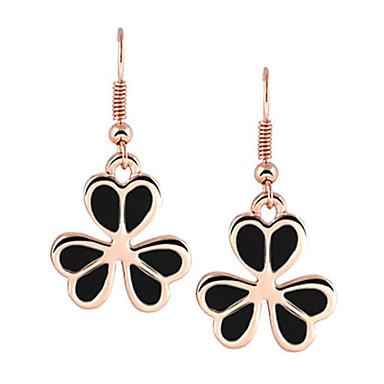 Golden Plated Lucky Leaf Clover Shape Alloy Acrylic Earrings