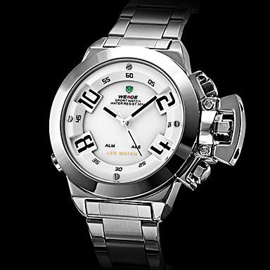 Herren Kleideruhr Quartz Japanischer Quartz LED Kalender Chronograph Wasserdicht Duale Zeitzonen Alarm Edelstahl Band Silber Marke