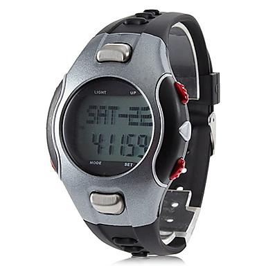 Bretelles moniteur de fréquence cardiaque style automatique caoutchouc numérique montre-bracelet des hommes avec podomètre (Black)