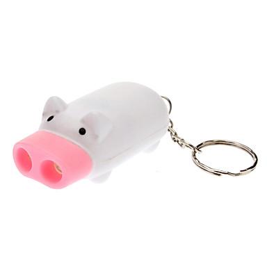 Mini Pig lommelykt med 2 LED-lys, hvit (3 x AG3 inkludert)
