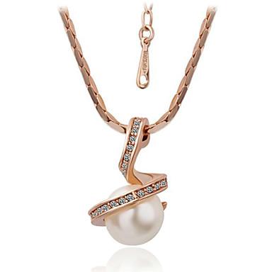 Mücevher Uçlu Kolyeler Günlük İnci / alaşım Kadın Altın Düğün Hediyeleri