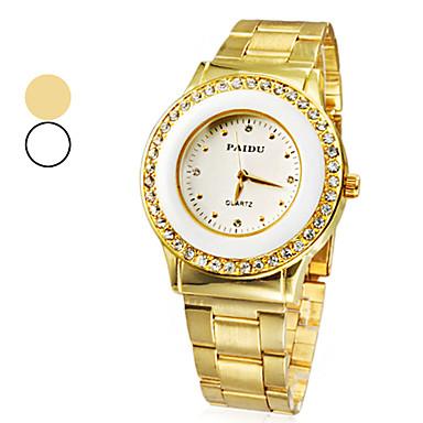 Bayanların Gündelik Saatler Quartz imitasyon Pırlanta Bant Altın Rengi Altın Beyaz