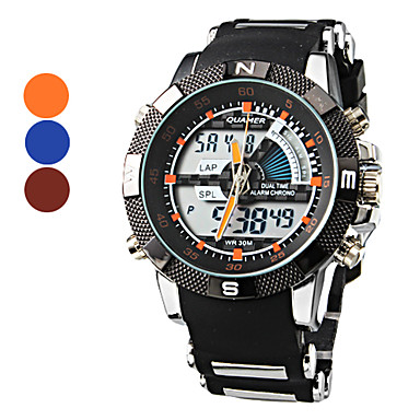 Men's Analog-Digital Multi-Functional Black Case Silicone Band Wrist Watch (Assorted Colors)