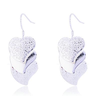Mulheres Brincos Compridos Coração Prata Chapeada Coração Jóias Festa Diário Casual Jóias de fantasia