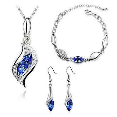 Women's Crystal / Synthetic Diamond Jewelry Set - Crystal, Rhinestone, Imitation Diamond Basic, Fashion Include Drop Earrings / Pendant Necklace / Bracelet Green / Blue / Light Blue For Party / Rings