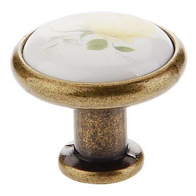 Sarı Seramik Düğme Çekmece Çekeceği (Altın) Gül