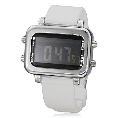Men's Multi-Function Red LED Square Dial Silicone Band Wrist Watch (White)