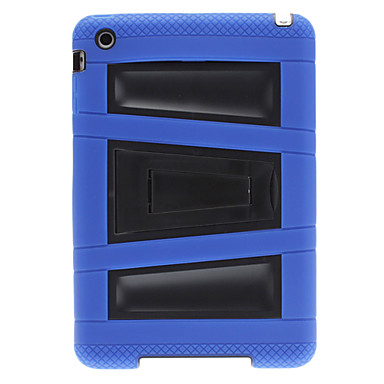 Defender Series Hybrid Hard Case with Blue Silicone Coat and Stand for iPad mini