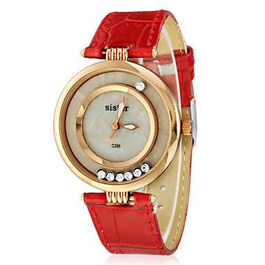 Mulheres Relógio de Moda imitação de diamante PU Banda Preta / Branco / Vermelho
