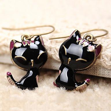 Kadın's Damla Küpeler - Reçine Kedi, Hayvan sevimli Stil Siyah Uyumluluk Günlük