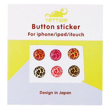 6 Pieces Leopard Print Home Button Sticker for iPhone/iPad/iPod touch