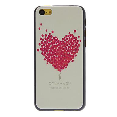 IPhone 5C için taze tasarlanan Gül Balon Kalp Şekli Desen Hard Case