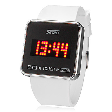SKMEI Erkek Dijital Bilek Saati Dokunmatik Ekran Takvim LED Silikon Bant İhtişam Siyah Beyaz
