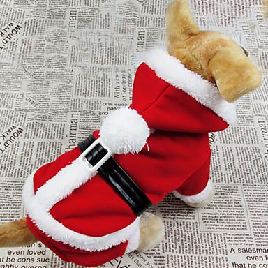 Köpek Kostümler Paltolar Kapüşonlu Giyecekler Köpek Giyimi Nefes Alabilir Cosplay Noel Tek Renk Kırmzı Kostüm Evcil hayvanlar için