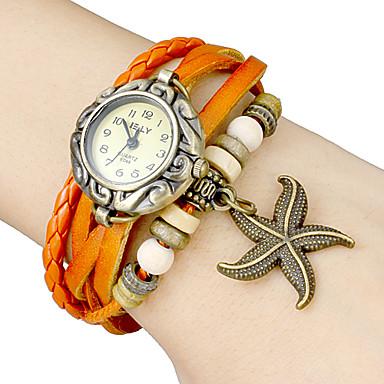 d56f7ea1f ساعة يد مع خرزة نجمة البحر و حزام جلد تناظرية كوارتز (ألوان متعددة ...