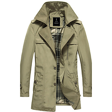 Men'S Lapel Casual Trench Coat