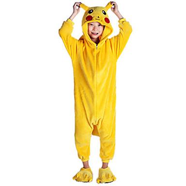 Pentru copii Pijama Kigurumi Pika Pika Animal Pijama Întreagă Flanel Lână Galben Cosplay Pentru Baieti si fete Sleepwear Pentru Animale Desen animat Festival / Sărbătoare Costume