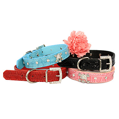 Adjustable Rhinestones Decorated Skull PU Leather Collar for Pets Dogs (Assorted Colors, Sizes)